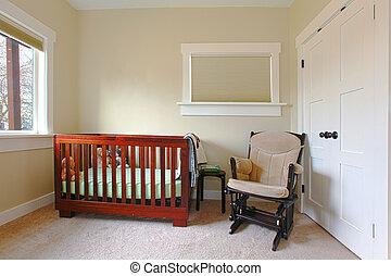 eenvoudig, babykamer, vatting