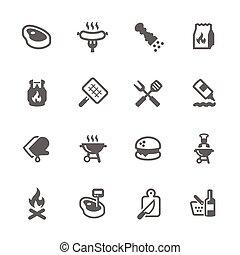 eenvoudig, barbecue, iconen