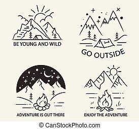 eenvoudig, berg, lijn, kamperen, illustratie