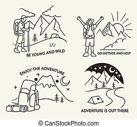 eenvoudig, berg, lijn, wandelende, illustratie