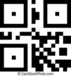 eenvoudig, binair, qr, code., digitale informatie, starage, teken.