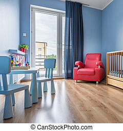 eenvoudig, blauwe , kamer, baby