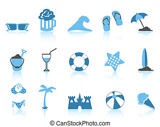 eenvoudig, blauwe , pictogram, strand, reeks