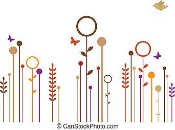 eenvoudig, bloemen, vector