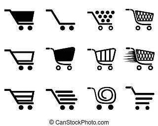 eenvoudig, boodschappenwagentje, iconen, set