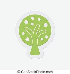 eenvoudig, boompje, -, stylized, groene, vruchten, pictogram
