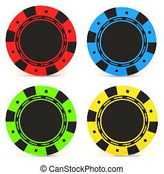eenvoudig, casino spaanders, gekleurde