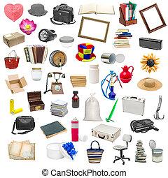 eenvoudig, collage, voorwerpen, vrijstaand