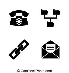 eenvoudig, communicate., vector, verwant, iconen