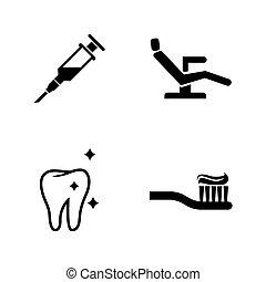 eenvoudig, dentist., vector, verwant, iconen