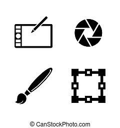 eenvoudig, design., vector, verwant, iconen
