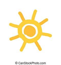 eenvoudig, doodle, geverfde, zon