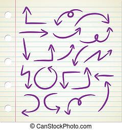 eenvoudig, doodle, richtingwijzer