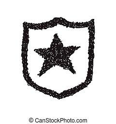 eenvoudig, doodle, ster, schild