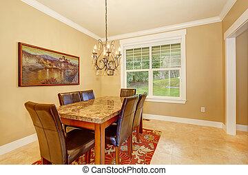 eenvoudig, elegant, dinning, kamer, chandelier.