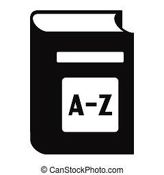 eenvoudig, engelse , woordenboek, pictogram