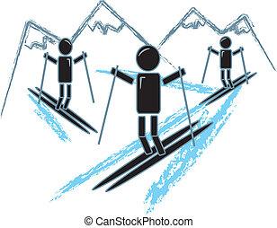 eenvoudig, figuren, stok, skien
