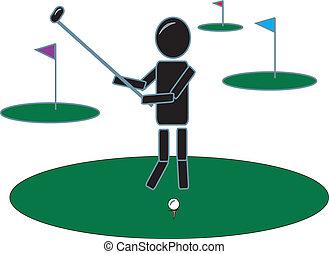 eenvoudig, figuur, golfing