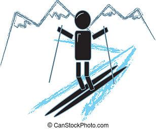 eenvoudig, figuur, skien