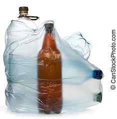 eenvoudig, flessen, plastic
