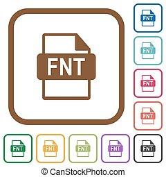 eenvoudig, formaat, fnt, bestand, iconen