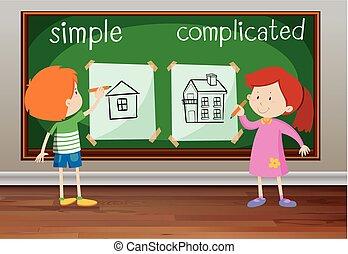 eenvoudig, gecompliceerd, woorden, tegenoverstaand