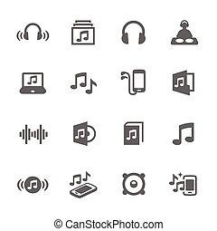 eenvoudig, geluid, iconen