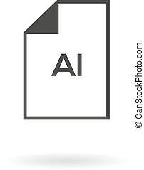 eenvoudig, greyscale, pictogram, van, blad, (file), en, ai, tekst, binnen