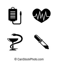 eenvoudig, healthcare., vector, verwant, iconen