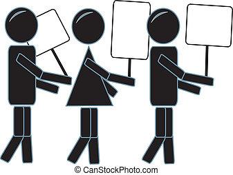 eenvoudig, het protesteren, figuren, stok