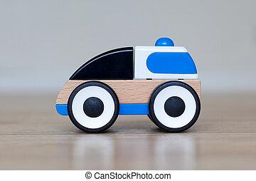 eenvoudig, hout, en, plastische speelbal, politiewagen