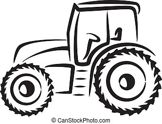 eenvoudig, illustratie, met, een, tractor