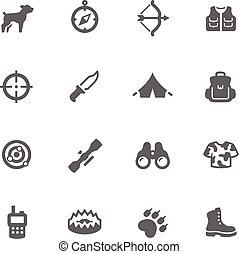 eenvoudig, jacht, iconen