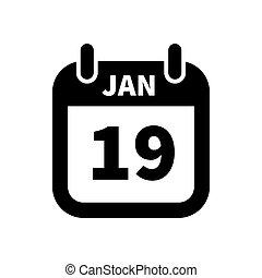 eenvoudig, januari, vrijstaand, 19, black , datum, kalender, witte , pictogram