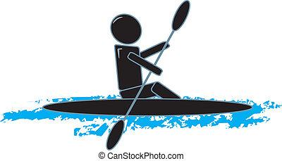 eenvoudig, kayaking, figuur