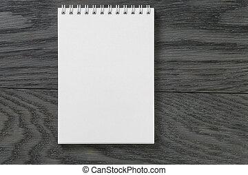 eenvoudig, leeg, notepad, op, rustiek, hout, tafel