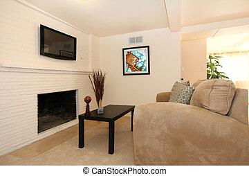 eenvoudig, levend, fireplace., kamer, tv