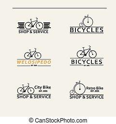 eenvoudig, logos, bicycles, set, vector