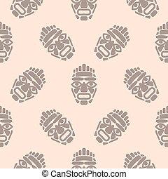 eenvoudig, masker, pattern., hawaii, seamless, tiki