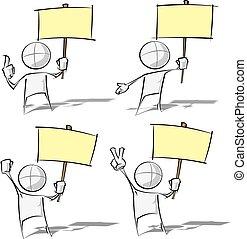 eenvoudig, mensen, -, vasthouden, een, plakkaat