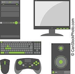 eenvoudig, onderdelen, computer, extern, modieus