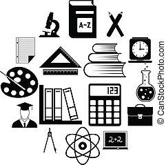 eenvoudig, opleiding, iconen