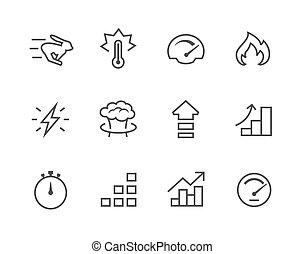 eenvoudig, opvoering, set, verwant, pictogram
