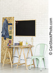 eenvoudig, osb, werkruimte, bureau