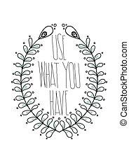 eenvoudig, ouderwetse , decorativ, citaten, inspirational, poster, floral