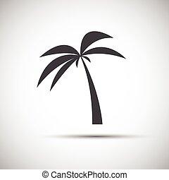 eenvoudig, palm, vector, boompje, illustratie