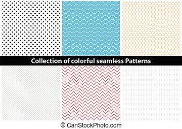 eenvoudig, patterns., seamless, kleurrijke, verzameling