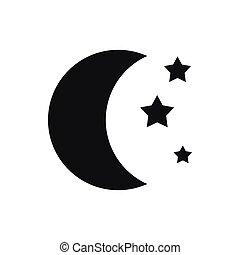 eenvoudig, pictogram, stijl, sterretjes, maan