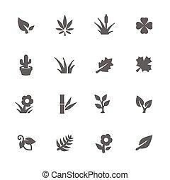 eenvoudig, planten, iconen