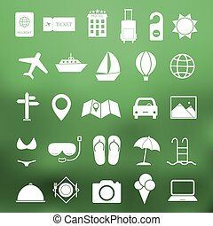 eenvoudig, reizen, pictogram, set, vector